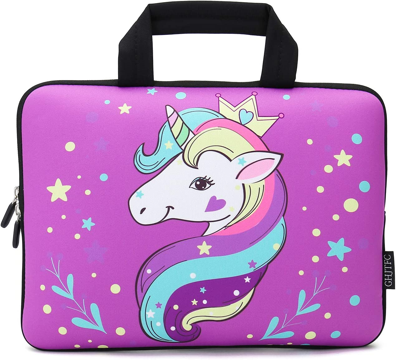"12 Inch Laptop Sleeve Carrying Bag Protective Case Neoprene Sleeve Tote Tablet Cover Notebook Briefcase Bag with Handle for Women Men(Unicorn,12"")"