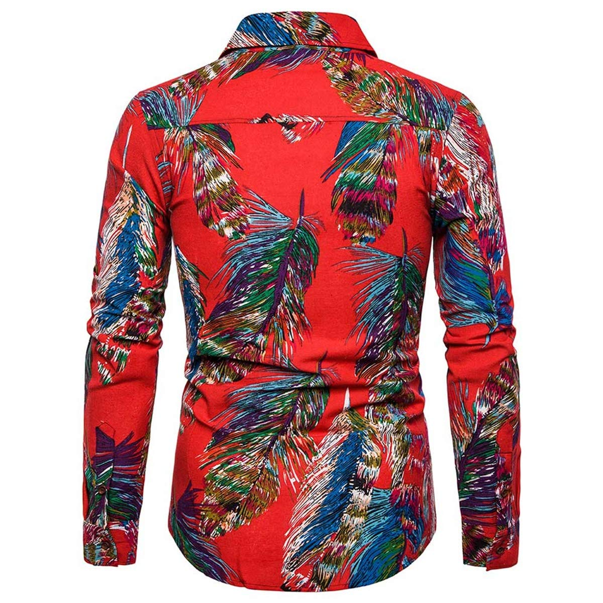 Mens Ethnic Floral Printed Casual Button Down Long Sleeve Shirts