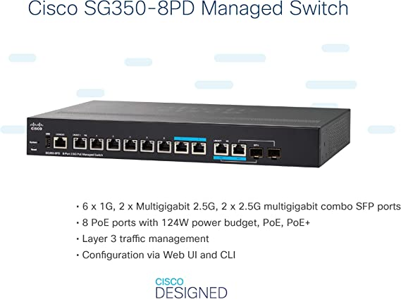 Cisco Sg350 8pd 8 Port 2 5 G Poe Managed Switch Computers Accessories