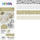 HEYDA 48 Bandes de papier origami pour etoiles de l'avent, or/argent