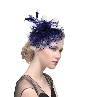 ba4d6b6e528 Afinder Vintage Feather Veil Flower Beads Pillbox Bowler Hat Special  Occasions Wedding Party Showgirl Fascinator Derby