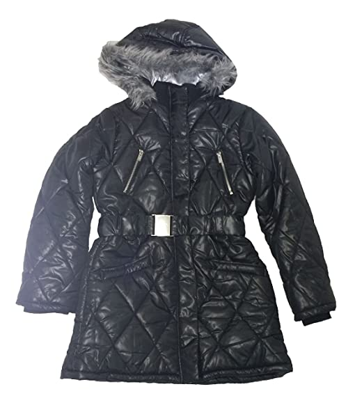 Amazon.com: DKNY Girls Hooded Faux Fur Puffer Jacket, Black, Large ...