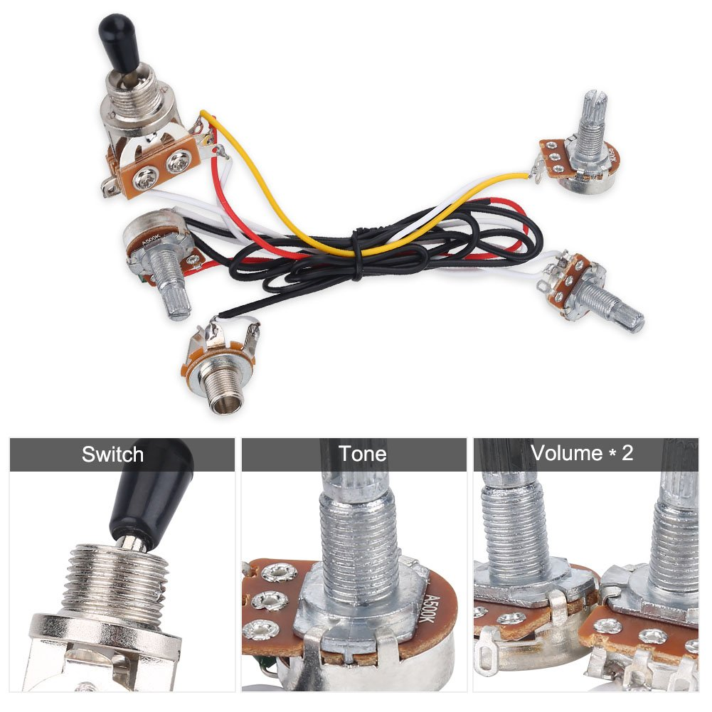 3 Way Switch Wiring Harness Kit 2 Volume 1 Tone Jack Ernie Ball 500k Pots For Electirc Guitar Bass Musical Instruments