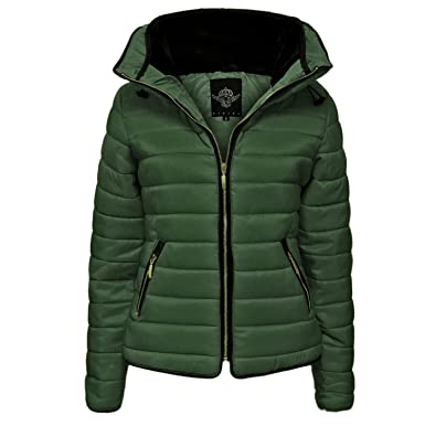 Womens Quilted Hooded Coat Ladies Padded Long Sleeve Zip Pocket Jacket 8-14