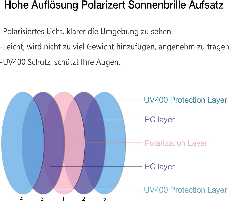 2-St/ück Clip on Polarisiert Clip polarisierte Sonnenbrille Flip up Sonnenbrille Clip Gegen Licht f/ür Frauen und M/änner Splaks Sonnenbrille Aufsatz Schwarz+Schwarz