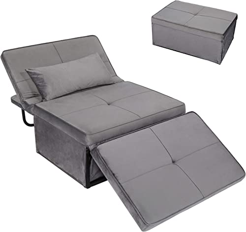 Convertible Chair Sleeper Bed,Sofa Chair Bed Sleeper,Folding Ottoman Sleeper Guest Bed,4