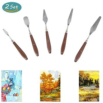5 Piezas Cuchillo de Paleta de Pintura Al óleo,(2 Sets) Cuchillos de Espátula con Mangos de Madera Resistentes Para ...