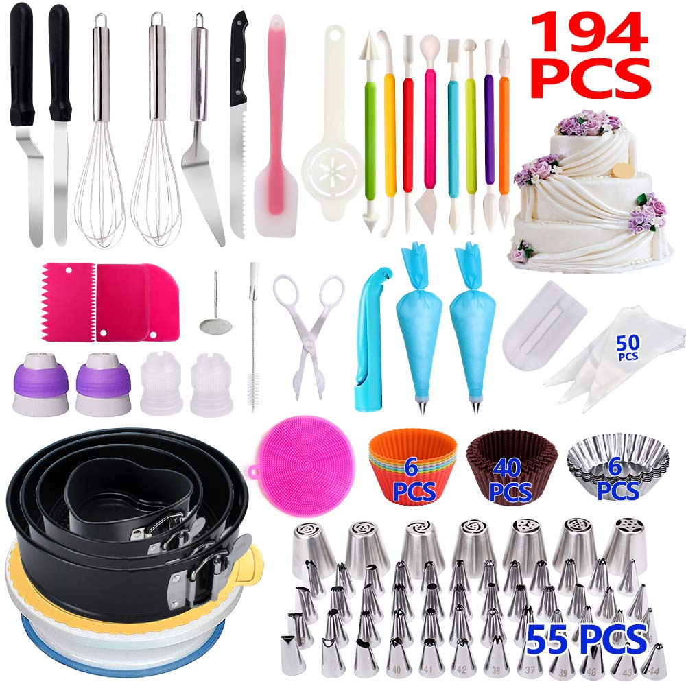 Cake Decorating Supplies,194 PCS Complete Baking Set with 4 Packs Springform Pan Sets,136 PCS Decorating Kits and 8 Silicone Cupcake Molds, Perfect Cake Baking Supplies for Beginners and Cake Lovers. by KOSBON (Image #1)