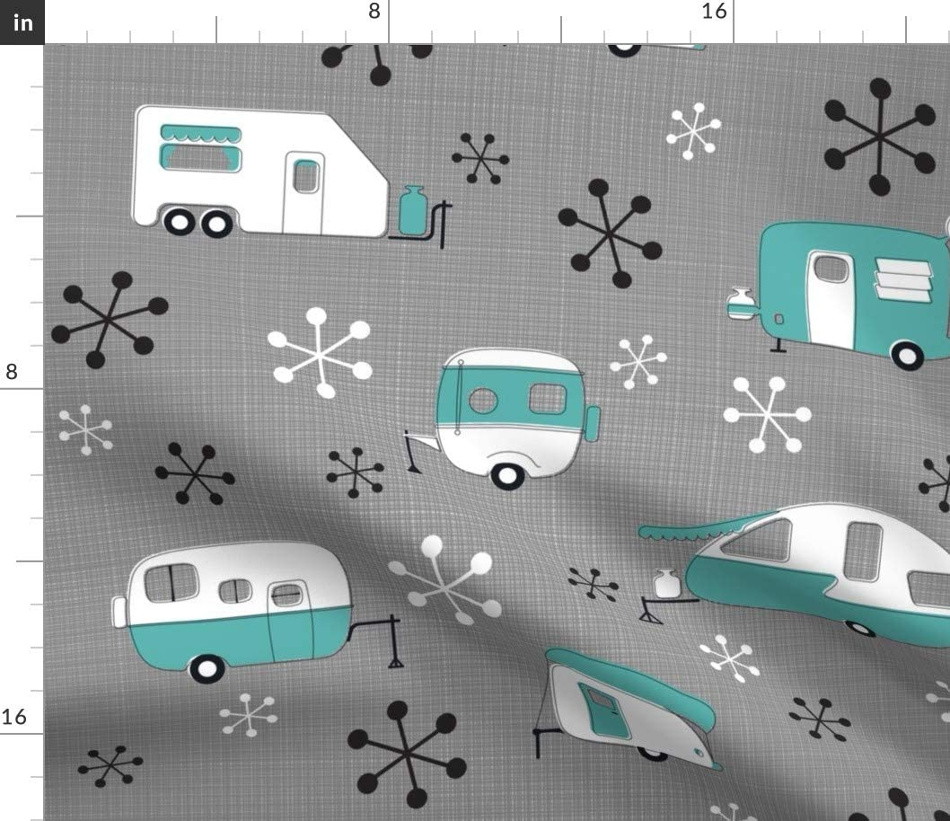 Spoonflower Fabric - Atomic, Campers, Turquoise, Retro, Starbursts, Camping, Cartoon, Printed on Basketweave Cotton Canvas Fabric by The Yard - Upholstery Home Decor Bottomweight Apparel