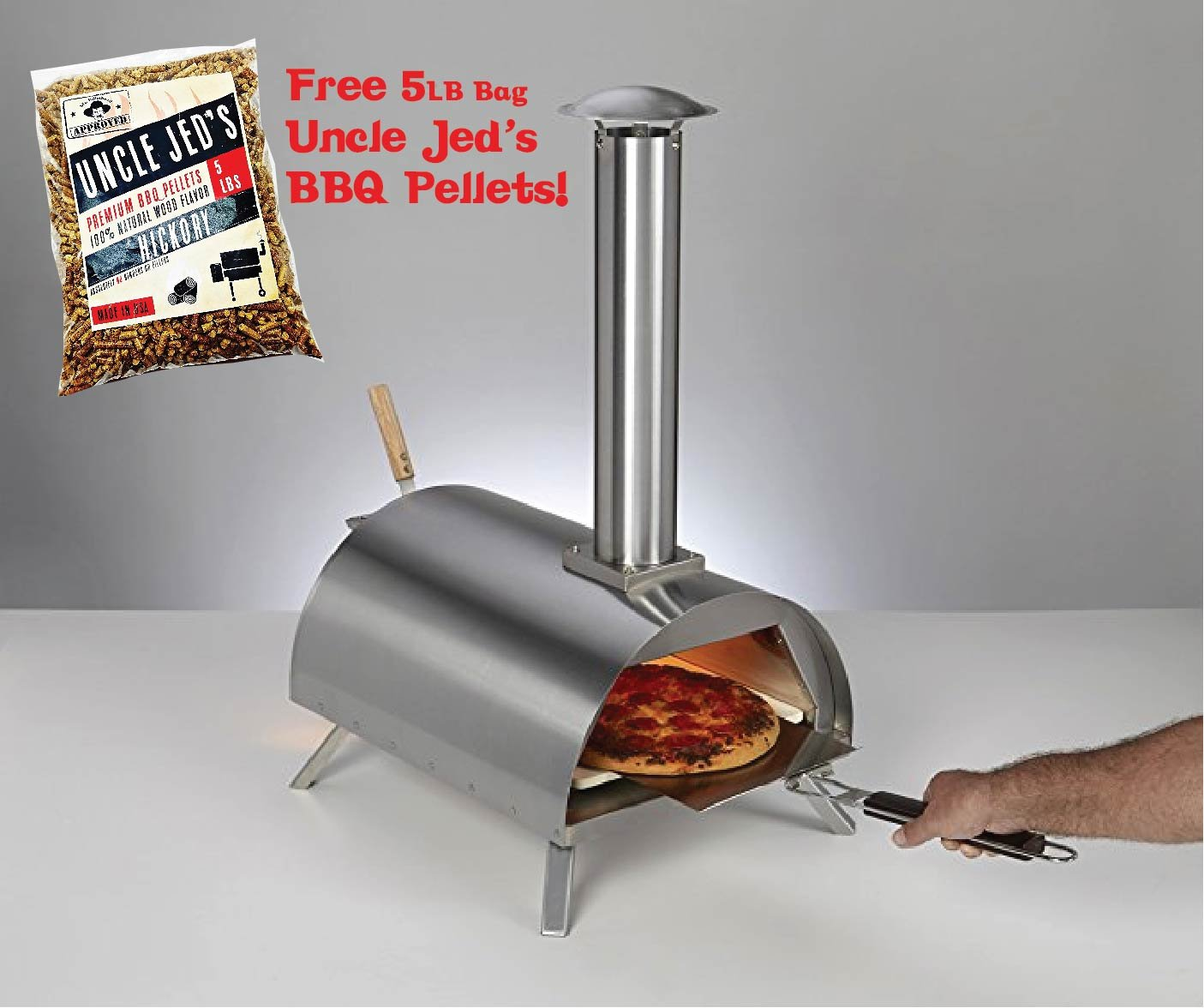 Wood Pellet Pizza Oven + 5LB Pellets Package, WPPO, wppokit1 Stainless Steel by Pellethead