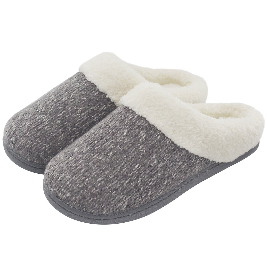 Women's Cozy Woolen Yarn Knitted Slippers Memory Foam Plush Lining Slip-on House Shoes w/Anti-Slip Sole, Indoor/Outdoor (Medium / 7-8 B(M) US, Gray)