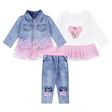 fa074ad3c iEFiEL Baby Girls 3Pcs Denim Outfit Long Sleeves Embroidered Floral Jacket + T-Shirt+Jeans Pants Clothing Set: Amazon.co.uk: Clothing