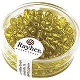 RAYHER hobby 1430020-perles de rocaille, diamètre : 4 mm, intérieur argenté, boite de 17 g, jaune