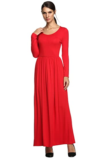Womens Long Sleeve Dress Waist Pleated Party Causual Fashional Figure Flattering Maxi Dress (S,