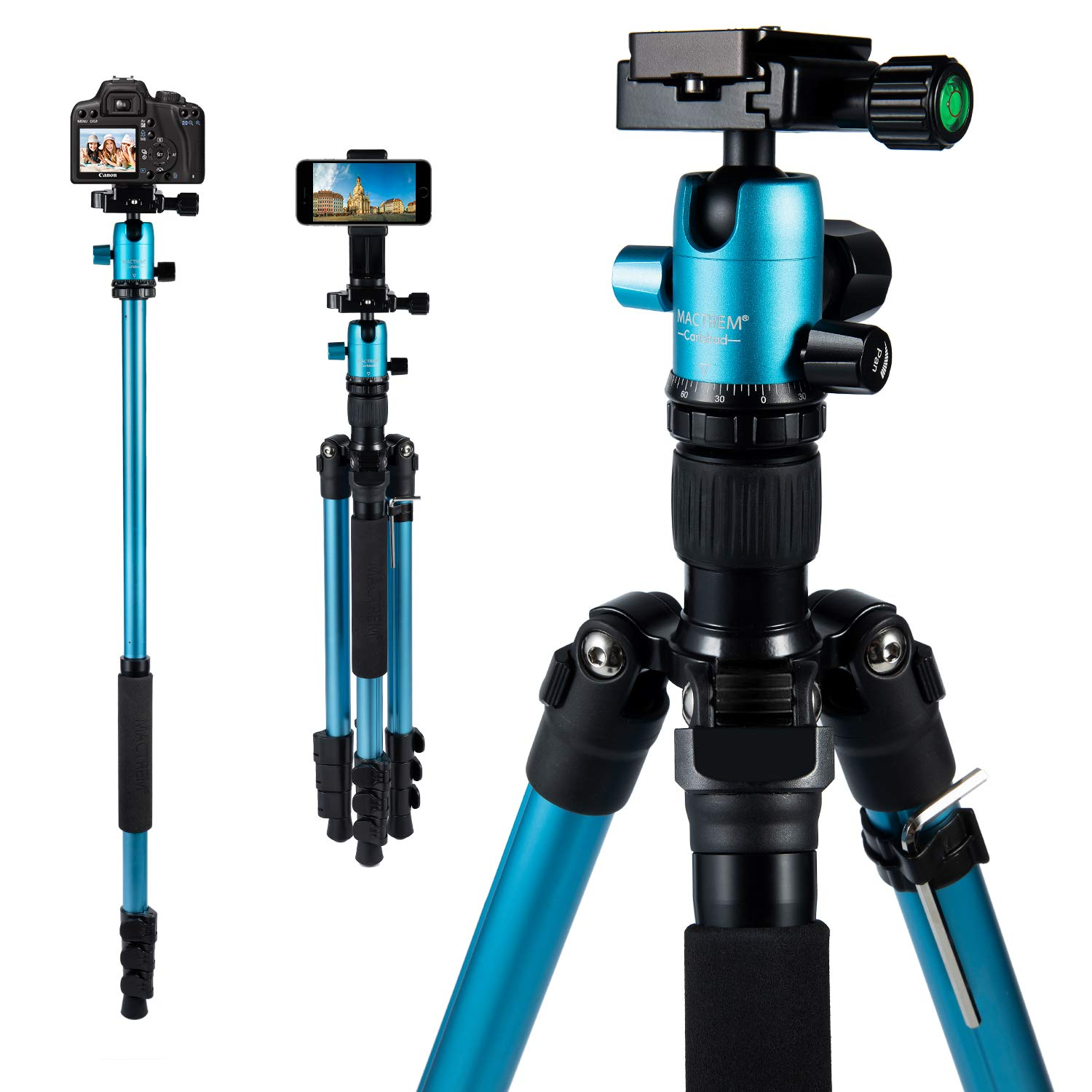 MACTREM Tripod DSLR SLR Tripod, 62.5'' Light-Weight Aluminum Alloy Camera Tripod Phone Tripod with Phone Holder, 360 Degree Ball Head, Detachable Monopod, 33Lbs Load with Carry Bag by MACTREM