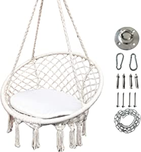 Morocco Macrame Round Hanging Chair Swing Hammock Natural Cotton Rope Tassels Iron Hoop Net in Cream, with Seat Cushion and Hanging Hardware Kits, Ideal to Read or Meditate on.