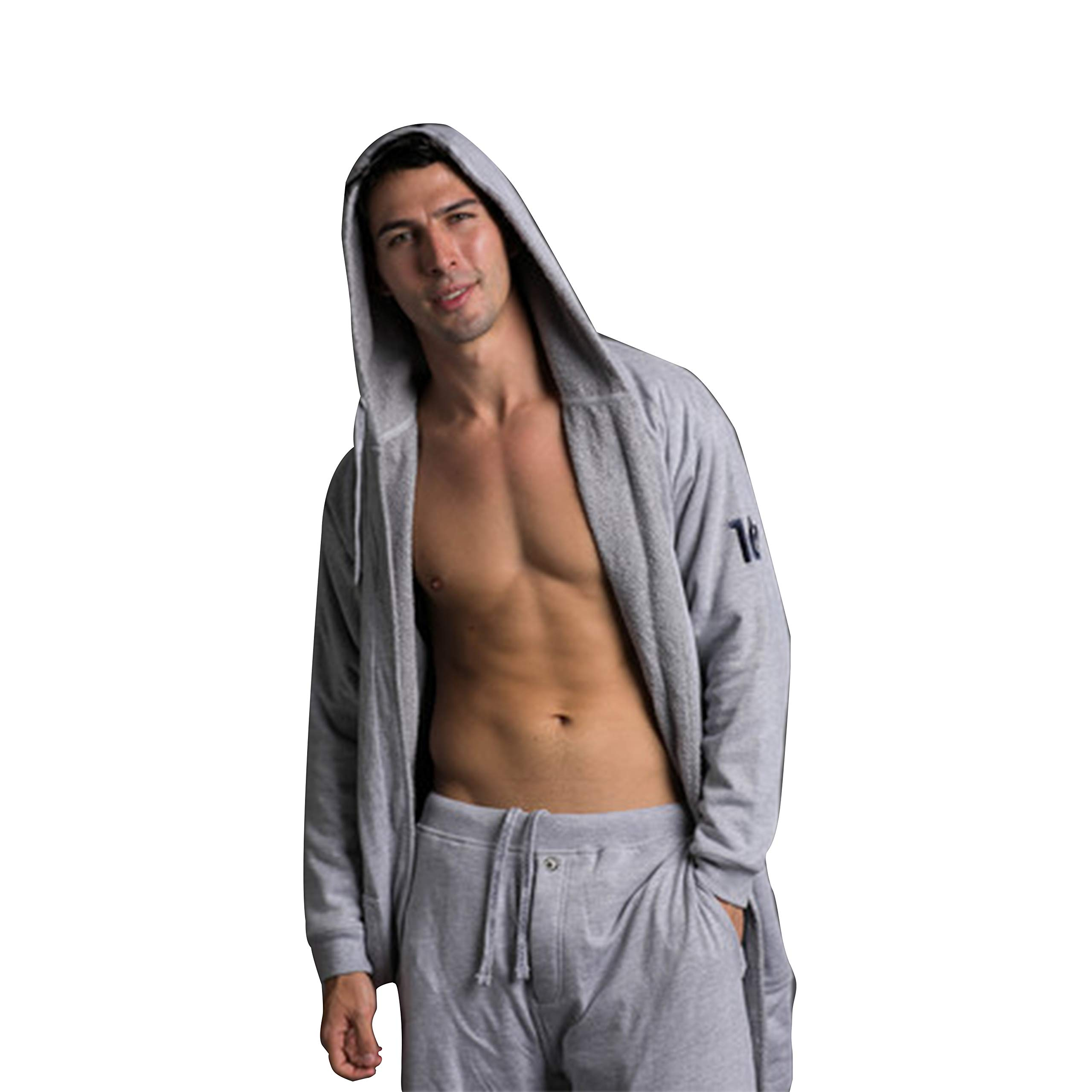 DudeRobe Men's Hooded Towel-Lined Bathrobe, Super Absorbent Luxury Robe for Men, L/XL, Grey