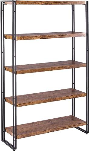 FIVEGIVEN Industrial Bookshelf Office Book Shelves 5 Tier Etagere Bookcases Rustic Wood Metal Brown