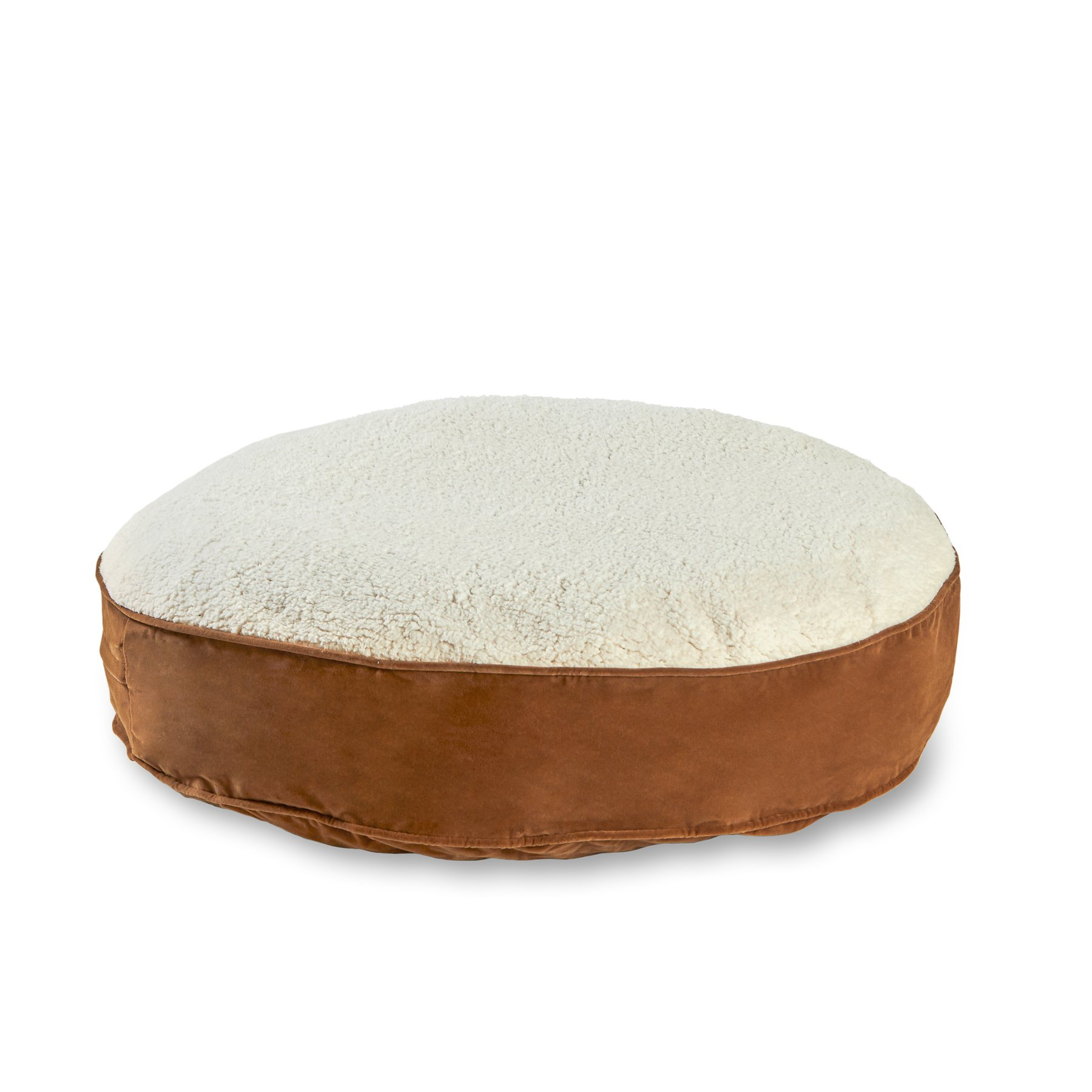 Happy Hounds Scout Deluxe Medium 36-Inch Round Dog Bed, Latte/Sherpa