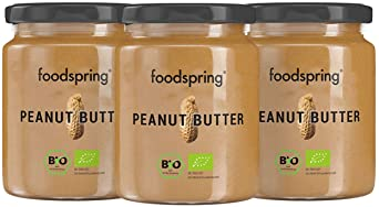 foodspring Crema de Cacahuete BIO, Pack de 3 x 250g, Fuente de proteínas y rico en fibra, Delicioso snack sin aditivos ni aceite de palma