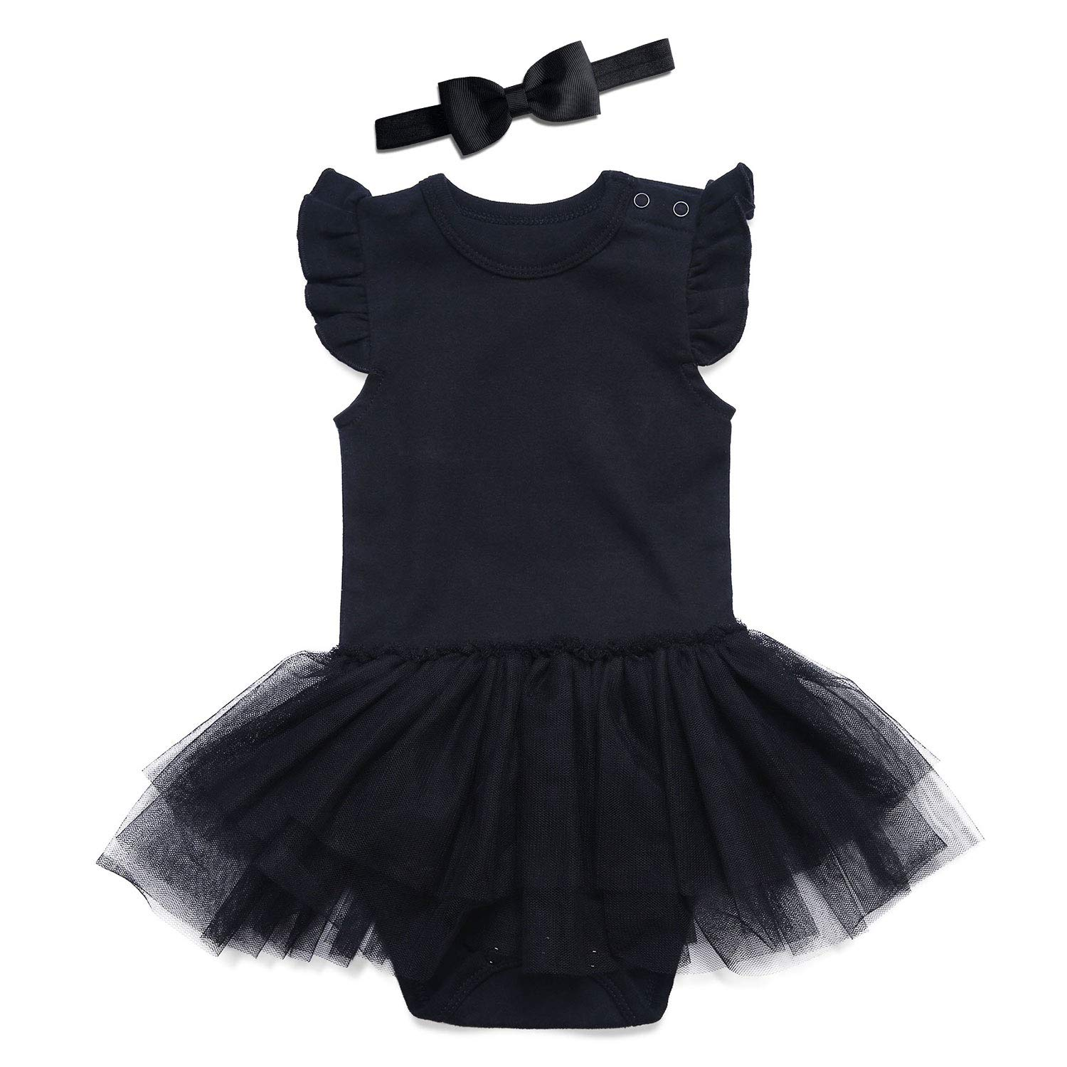 SOBOWO Black Baby Girls Lace Dress Bodysuit with Headband