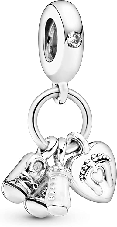 Amazon Com Pandora Jewelry Baby Bottle And Shoes Dangle Cubic Zirconia Charm In Sterling Silver Clothing