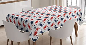 "Ambesonne Crabs Tablecloth, Sea Animals Theme Crabs on The White Background with Vintage Style Pattern Print, Rectangular Table Cover for Dining Room Kitchen Decor, 60"" X 90"", Blue Red"
