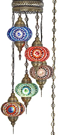 Amazon.com: Demmex 5 globos grandes de mosaico turco ...