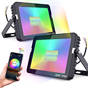 Smart LED Flood Lights Bluetooth APP Control Color Changing RGB White Green Back Light 20W Flood Light Replace 150-200W Outdoor Garden Patio Backyard Stage Background Lighting IP66 2 Pack NO Plug