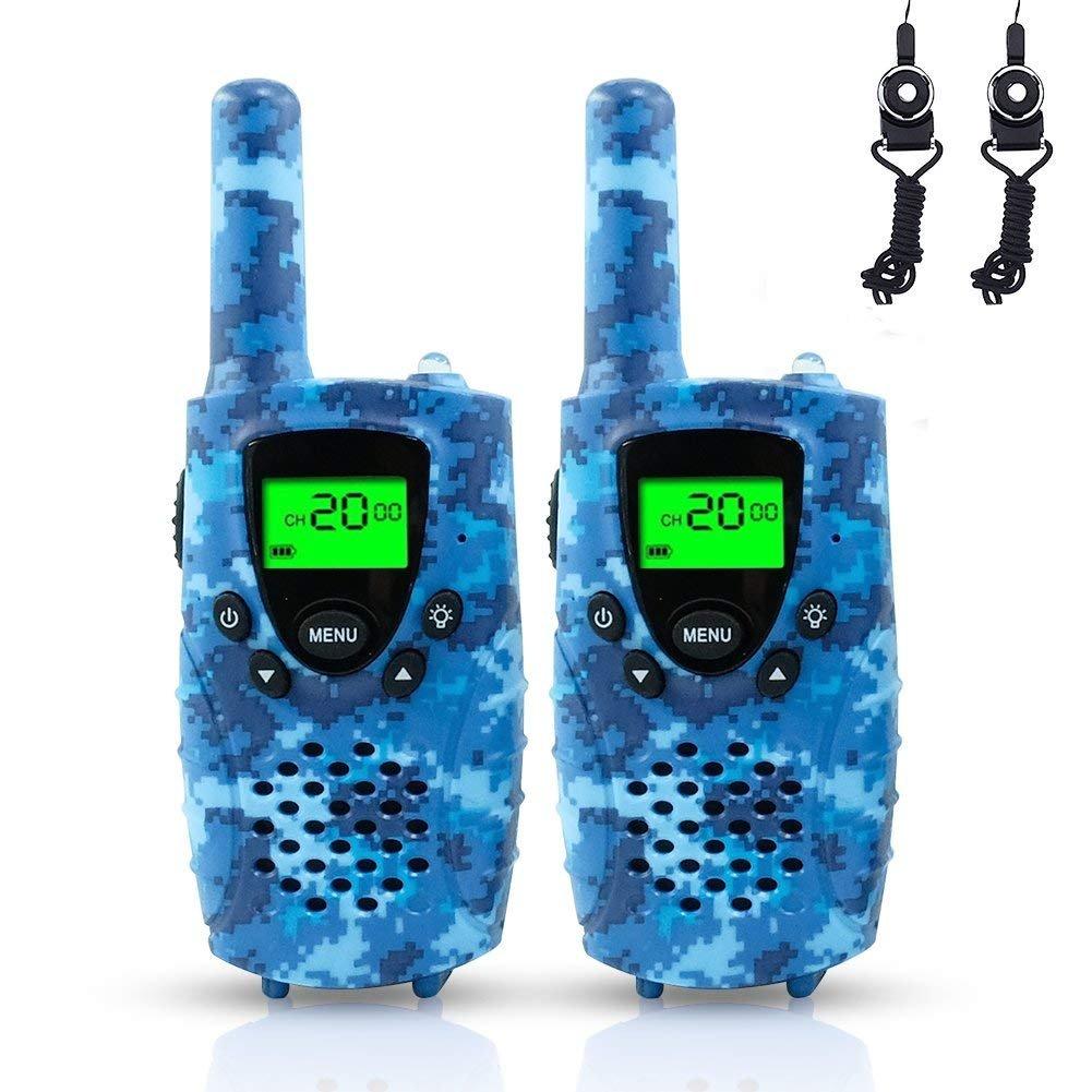 FAYOGOO Walkie Talkies Kids, 22-Channel FRS/GMRS Radio, 4-Mile Range Two Way Radios Kids Flashlight LCD Screen (Camo Blue)