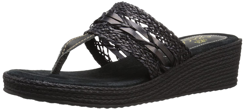 Sbicca Women's Claudina Wedge Sandal B019HSGHGG 7 B(M) US|Black