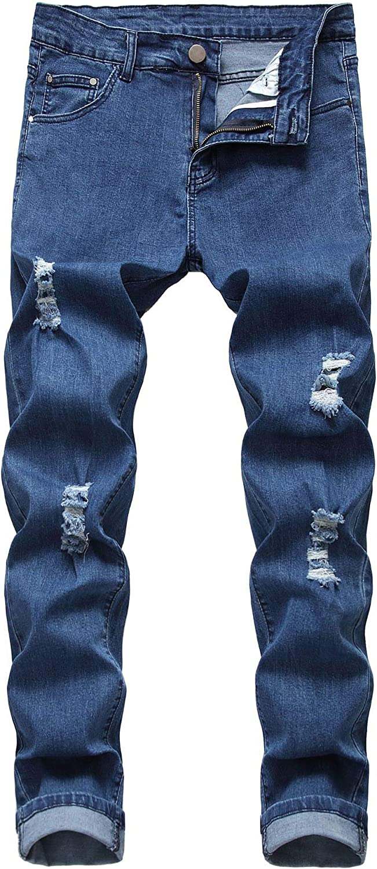 Qazel Vorrlon Mens Blue Skinny Jeans Stretch Washed Slim Fit Pencil Pants