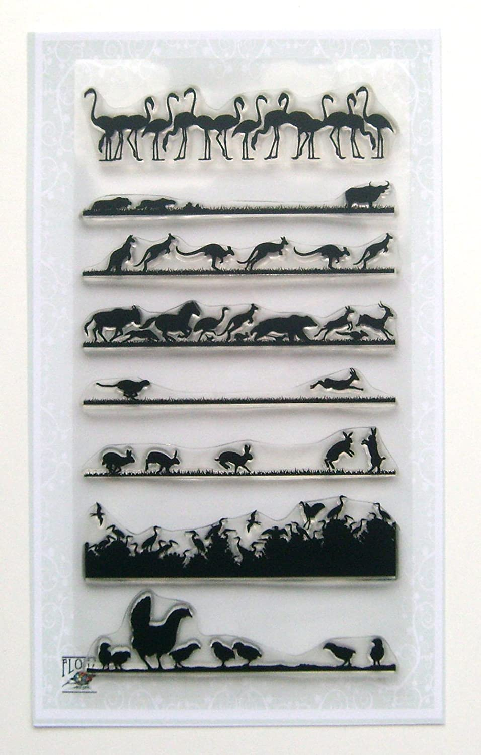 Animal Landscapes borders 01 // Clear stamps pack (4x7) FLONZ