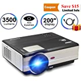 LED Projector Full HD 1080P 3500 Lumen Home Theater Projector HDMI TV AV USB Audio Port for iPhone Smartphone Video Projector for Indoor Outdoor Basement Backyard Movie Gaming TV with 10W Speaker