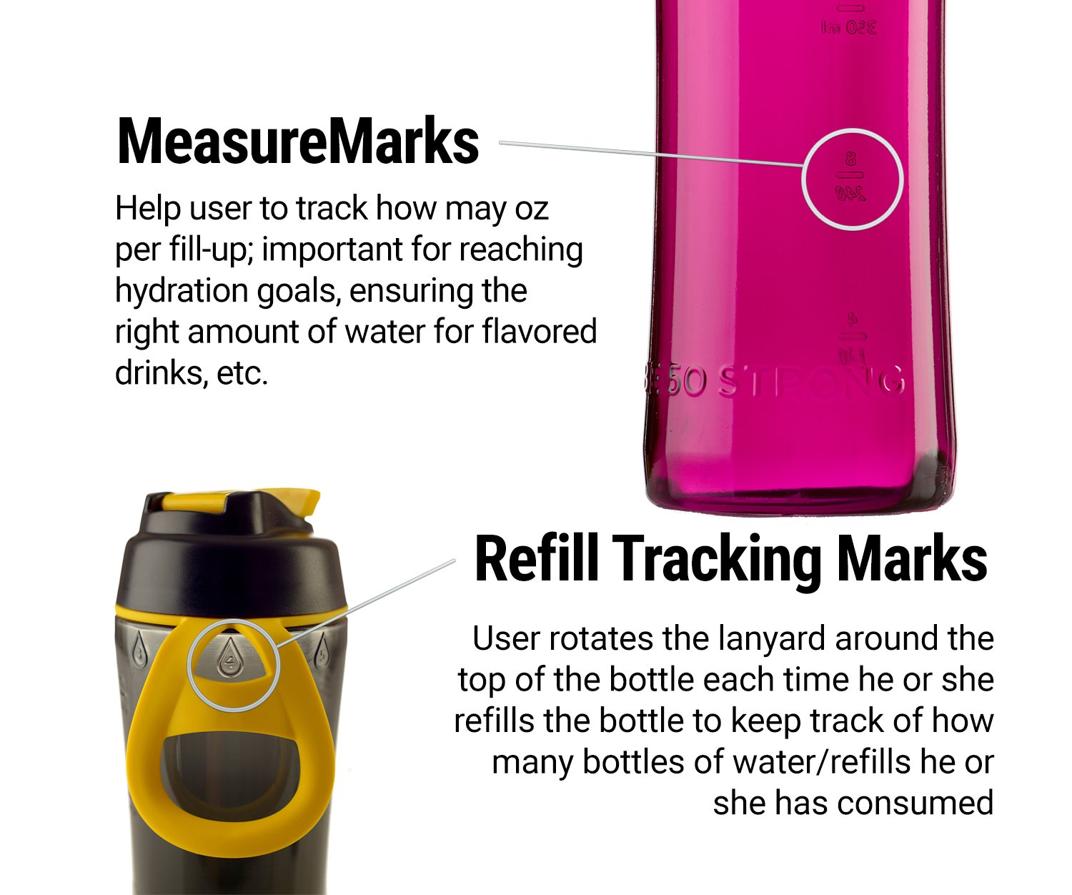 Made in USA Precision Thermoplastic Components Inc 80056 BPA Free Tritan Water Bottle with Ice Guard Chug Cap 50 Strong 24 oz
