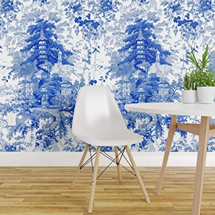 Sensational Peel And Stick Removable Wallpaper Blue And White Machost Co Dining Chair Design Ideas Machostcouk