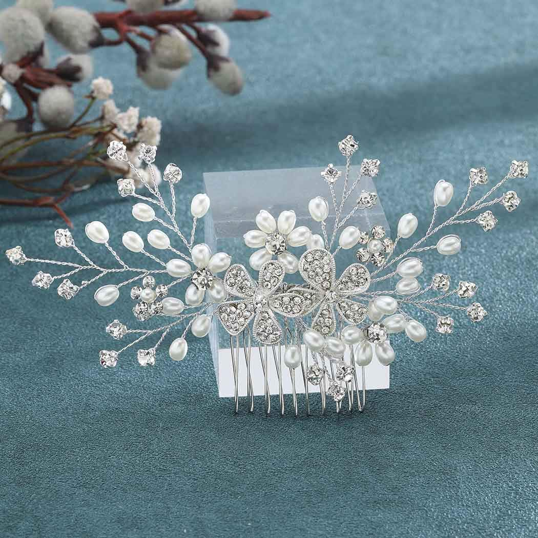 Jeairts Flower Crystal Bridal Hair Comb Silver Pearl Wedding Hair Side Combs Rhinestone Headpiece Hair Dress Decorative Bride Hair Accessories for Women and Girls : Beauty