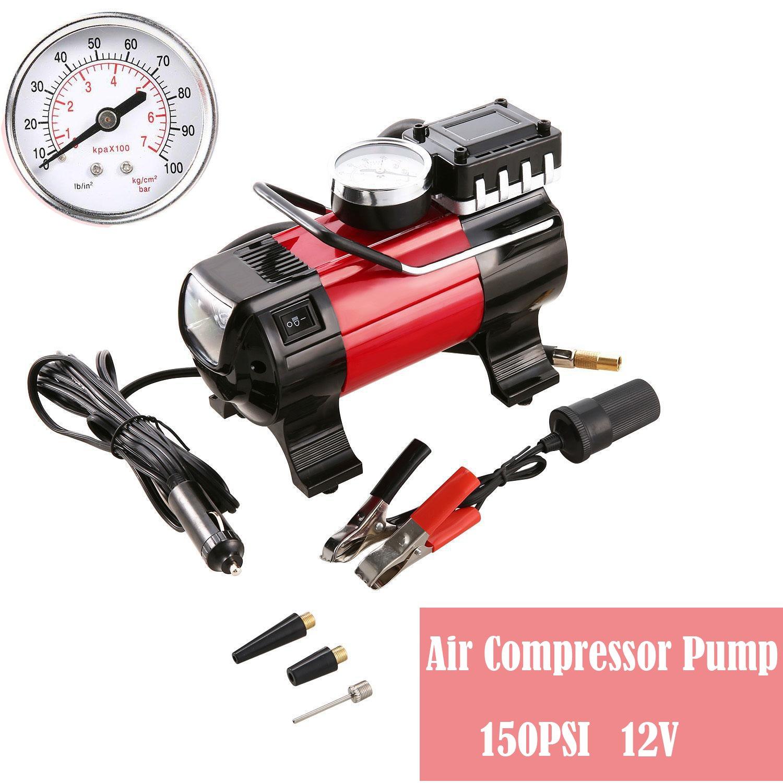 Portable Air Compressor Pump, 100 PSI 12V 168W Electric Auto Digital Car Tire Inflator Gauge for Car Bike Tires (Red)