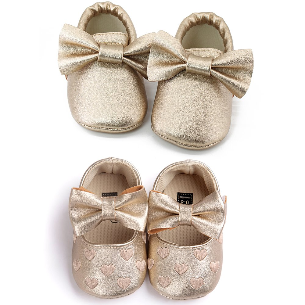 OOSAKU Infant Toddler Baby Soft Sole PU Leather Bowknots Shoes (12-18 Months, Gold+Gold A) by OOSAKU (Image #1)