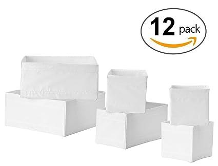 Ikea Drawer Storage Organizer Box Bin Tote White (12 Piece)