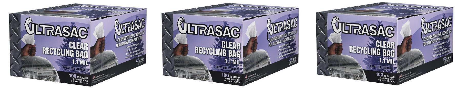 Aluf Plastics 719956 Ultrasac Heavy Duty Professional Quality Recycling Trash Bag, 45 Gallon Capacity, 46'' Length x 40'' Width, Clear (Case of 100) (3-(Case of 100))