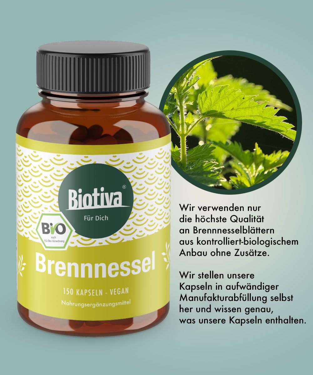 Cápsulas de ortie Orgánica (150 Pieza) - favorise la salud de la próstata & Urinaires - 450 mg por cápsula - sin additifs - fabricado y controlada en ...