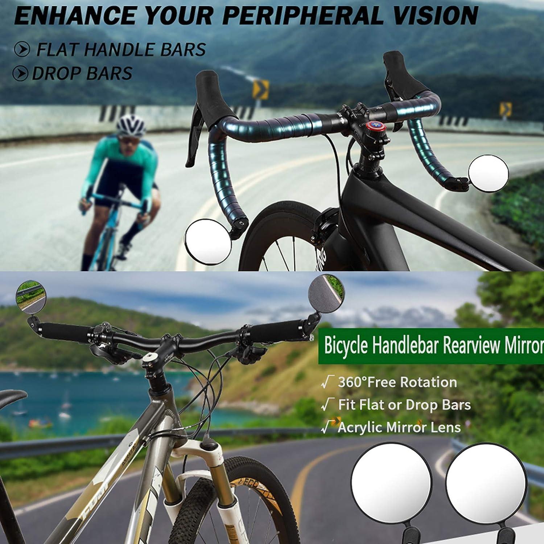 360/° Adjustable Bicicleta Manillar Espejor Rotativo Universal /Ángulo Amplio para Carretera Monta/ña Accesorios Ciclismo LEEWENYAN Espejo Retrovisor de Bicicleta