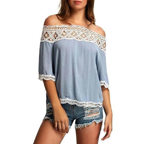 ASCHOEN - Camiseta sin mangas - manga 3/4 - para mujer
