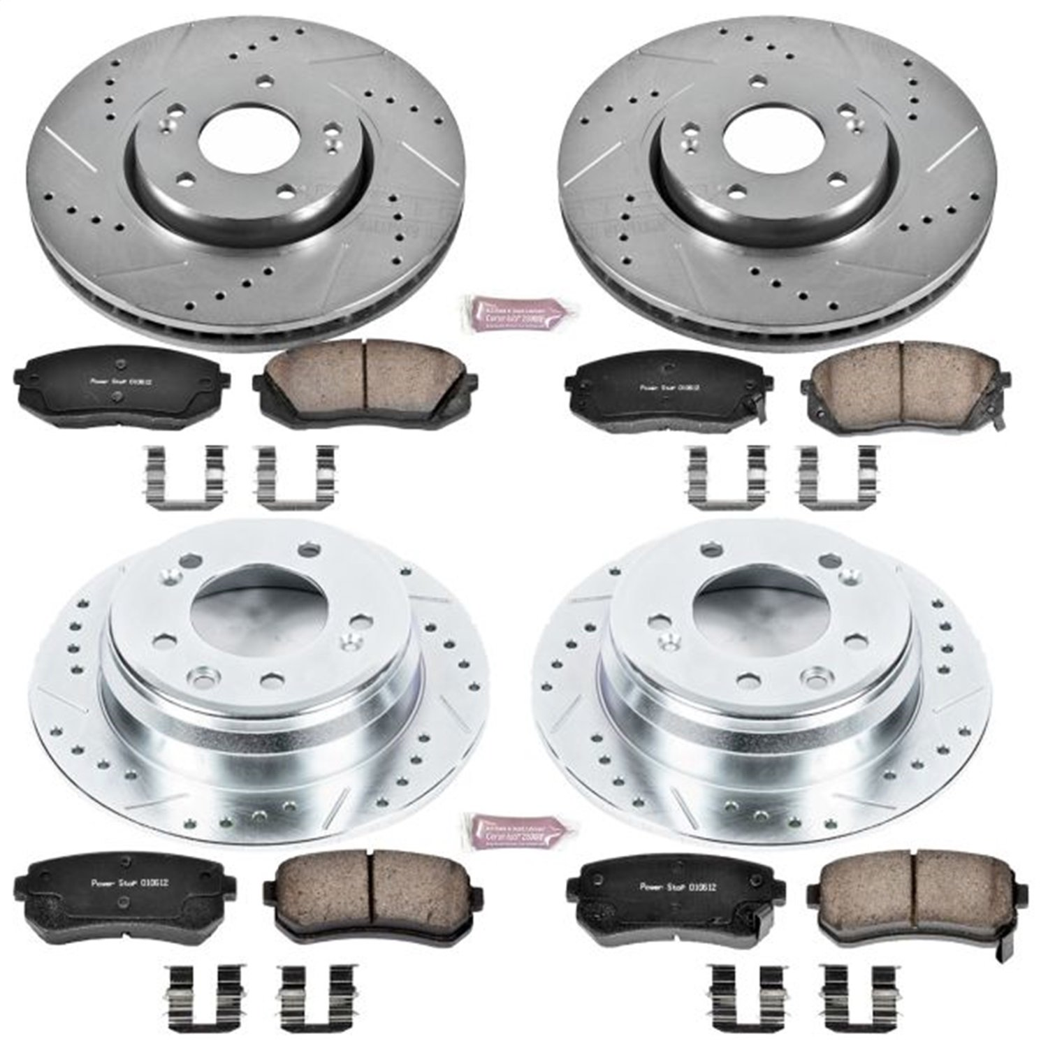 Power Stop K6088 Front and Rear Z23 Evolution Brake Kit with Drilled//Slotted Rotors and Ceramic Brake Pads