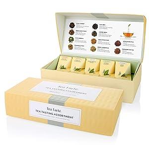 Tea Forte Tea Tasting Assortment Petite Presentation Box Tea Sampler, Assorted Variety Tea Box, 10 Handcrafted Pyramid Tea Infusers, Black Tea, White Tea, Green Tea, Herbal Tea