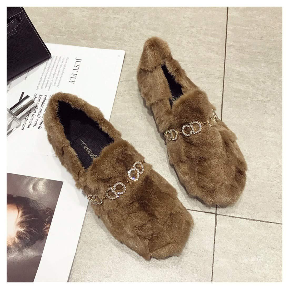 Camel OMFGOD Mesdames Fashion Chaussons Confort Fourrures Cuir Caoutchouc Fond Plat Chaussures De Loisirs