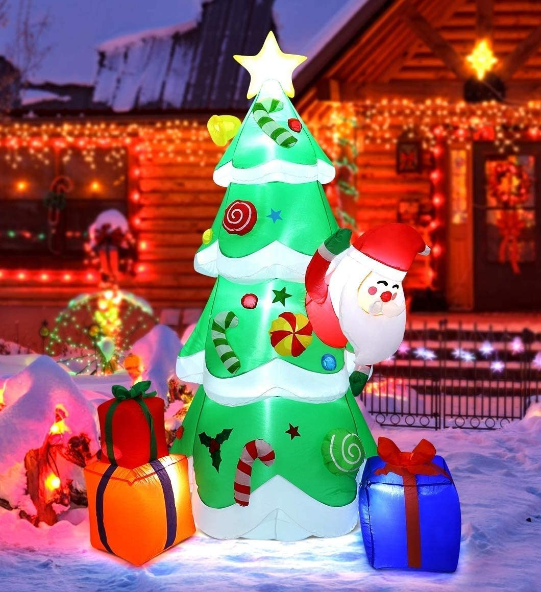 EPROSMIN 7ft Christmas Inflatable Decorations Tree - Blow Up with Multicolor Gift Boxes and Santa Built-in LED Lights for Christmas Indoor Outdoor Yard Garden Party Decorations