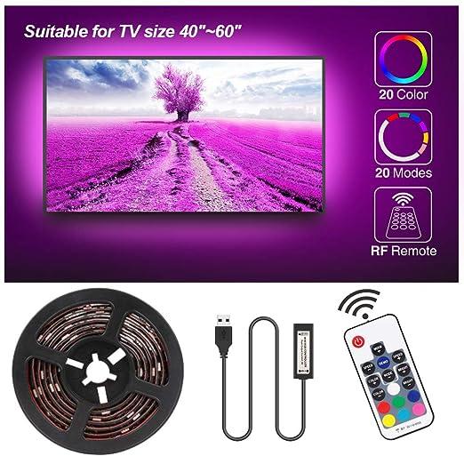 Tira LED TV 2.3M, Speclux Tiras LED Iluminación para HDTV/PC de 40-60 pulgadas, Retroiluminación de TV Tiras LED USB Impermeable con Control remoto de RF, 20 colores (2x50cm+2x60cm tira LED): Amazon.es: Iluminación