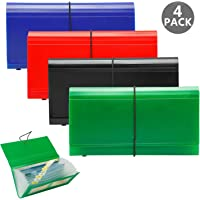 Expanding File Folders 4 Pack, SEEKIND 10.4' 5.5' Receipt Organizer Folder Accordion Folder Document with 13 Pocket for Office,Cards,Tickets-Water Resis